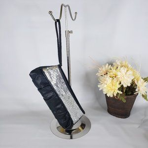 Giannini Black Silver Metal Accent Clutch Wristlet